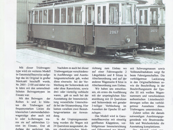 Ankündigungen Sedlacek Modellstraßenbahnen